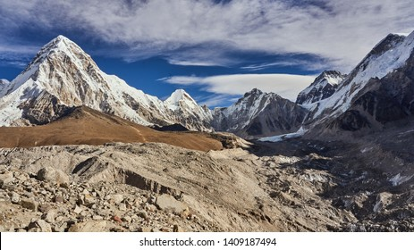 Mountain Pumori at Everest base camp in Nepal