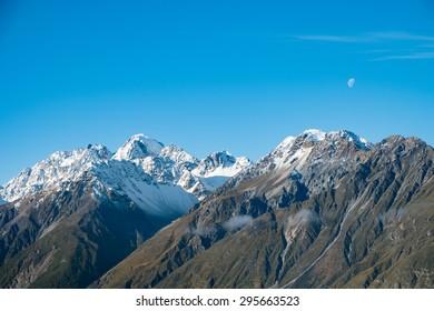 Mountain Range with Blue Sky in Aoraki Mount Cook, South Island, New Zealand