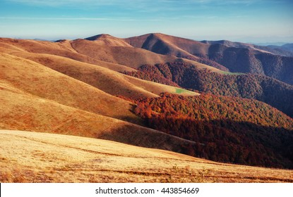 mountain range in the Carpathian Mountains in the autumn season. Fantastic sunset. Ukraine, Europe.