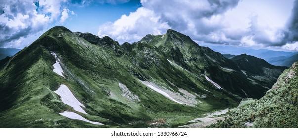 Mountain range in the Caucasus Mountains. View of the mountain Bolshaya Chura