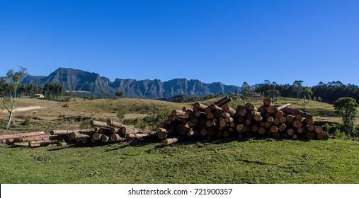 Mountain Range. Deforestation on the base of the Serra do Corvo Branco, Santa Catarina, Brazil.