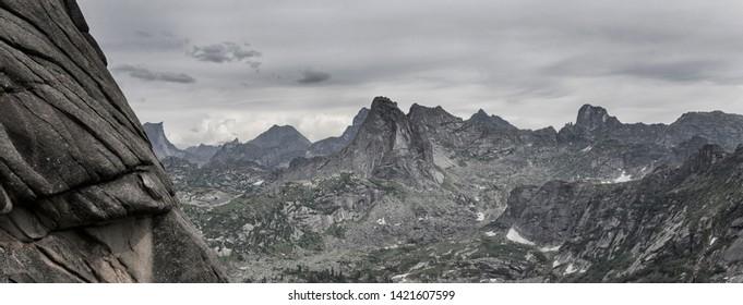 Mountain range Ergaki in the Western Sayan Mountains. Pass whale