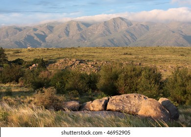 A mountain range famous for its mythical properties and multiple UFO sightings as seen from La Cumbre in Argentina.