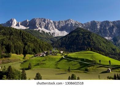 The mountain range Koschuta as seen from Zell, Carinthia, Austria