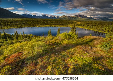 Mountain Range and Lake in Denali National Park, Alaska and a bright summer evening.