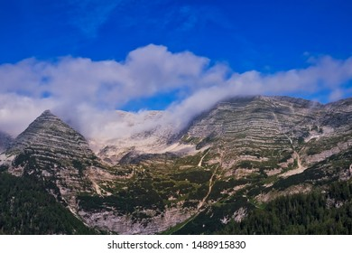 Mountain Range Landscape, panoramic of european alps with clouds
