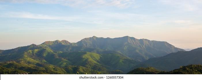 mountain range and layers of green hill mountain at Kanchanaburi province, Thailand