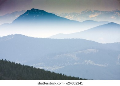 Mountain range in the morning,