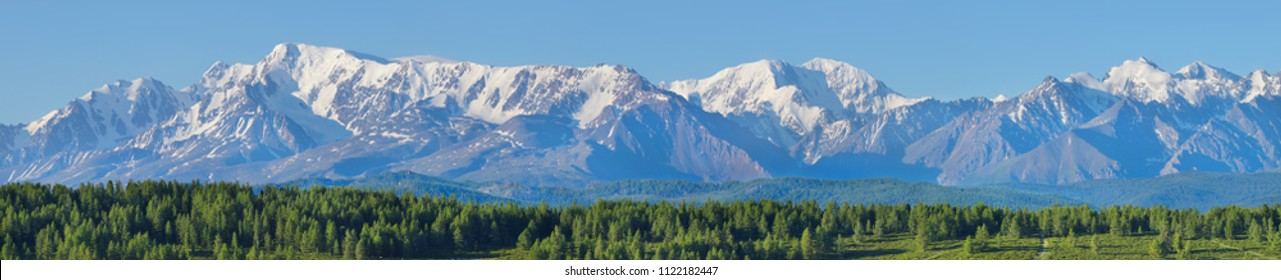 Mountain range, natural summer background, extra wide panorama