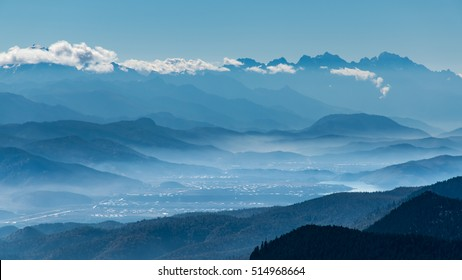 Mountain range panorama view from high hill