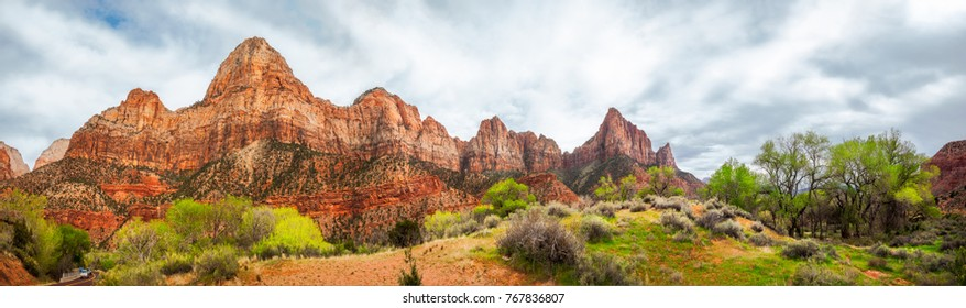 Mountain Range Panorama at Zion National Park, Utah, USA - Park South Entrance from Springdale.