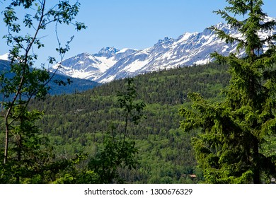 Mountain range and scenic forest landscape in Skagway, Alaska