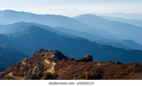 Mountain range seen from Sandakphu, Darjeeling, India