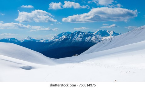 Mountain range seen from the top of the glacier, panoramic view of mountain range seen from the top