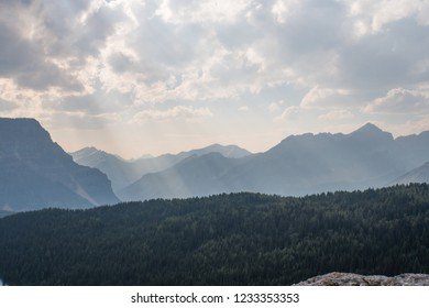 Mountain range silhouette during thick haze from wild fires in British Columbia in Canada Summer 2018