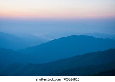 Mountain Range and The Sunrise