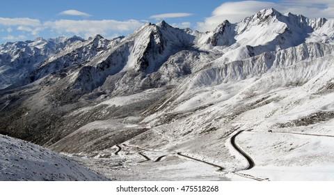 Mountain range in Tibet, midday.