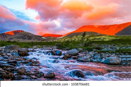 Mountain rapid river valley background sunset natural landscape