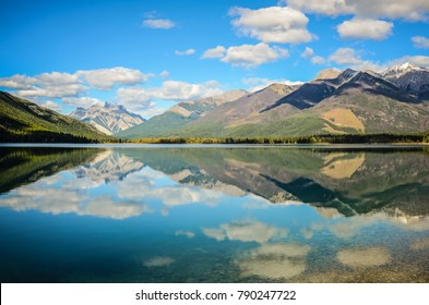 Mountain Reflection on Whiteswan Lake in summer, British Columbia, Canada
