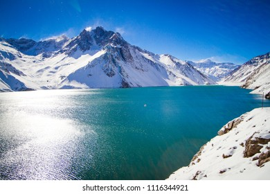 mountain reflection water blue snow tourism chile embalse el yeso cajon del maipo