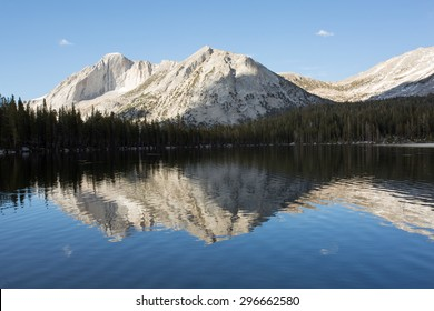 Mountain reflections at Young Lakes, Yosemite National Park wilderness, California