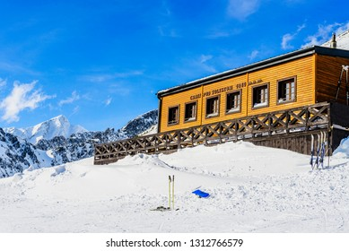 Mountain refuge at High Tatras Mountains, March 20 2013, Strbske Pleso, Slovakia.