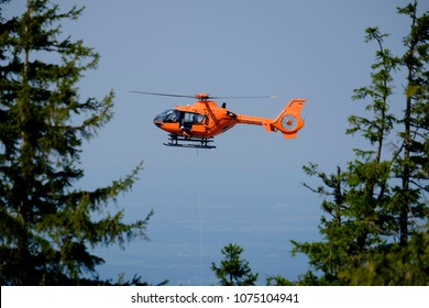 Mountain rescue helicopter in Bavaria, Germany