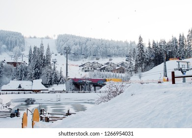 mountain resort Bukovel, Carpathians, the theme of mountain sports, ski track 2A, ski lift 2