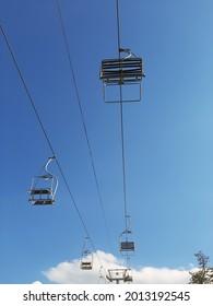 Mountain Resort Chairlift. Old Ski Center equipment.