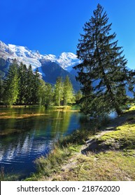 Mountain resort of Chamonix. Dreamlike beauty lake and park. In smooth water reflected snow-capped mountains