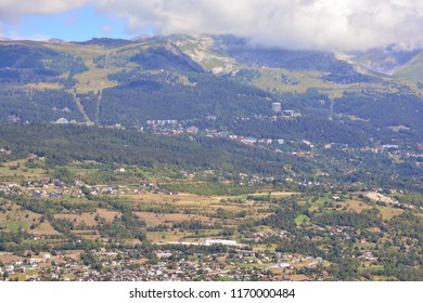 The mountain resort of Crans-Montana (running through centre of picture) in the southern Swiss Alps