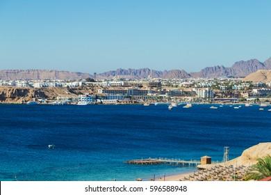 Mountain resort and the sea. Sinai Peninsula, Bay of Naama Bay, Red Sea, Egypt