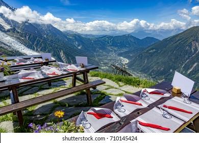 Mountain restaurant overlooking Chamonix