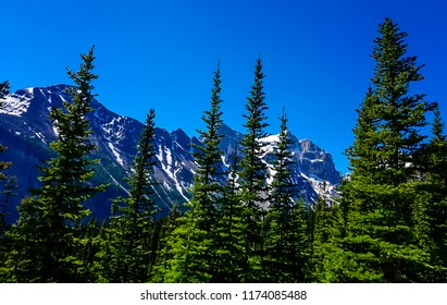 The Mountain Ridge along the Tea House Trail in the Rocky Mountains in Banff National Park in Alberta Canada