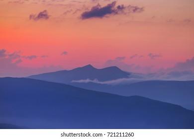 mountain ridge at the evening