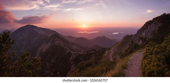 mountain ridge from herzogstand to heimgarten, adorable sunset landscape upper bavaria
