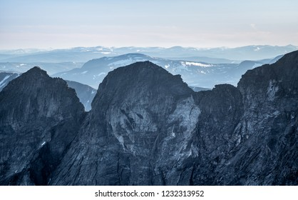 Mountain ridge at Snøhetta, Norway.