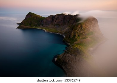 Mountain ridge of Vaeroy island at midnight sun, Lofoten