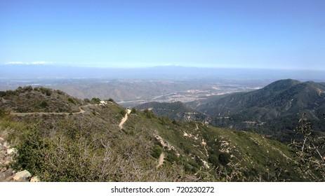 Mountain ridge with winding dirt roads, California