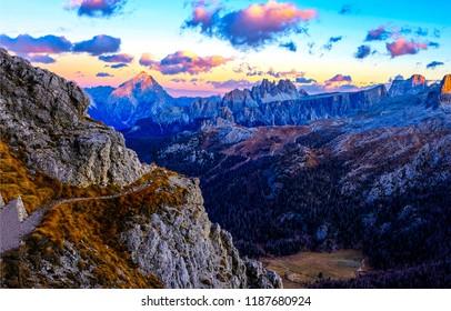 Mountain rift sky clouds landscape. Mountain cloudy sky over mountain rift panorama. Sunset mountain sky view