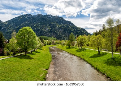 Mountain river Ammer in Oberammergau, Bavaria
