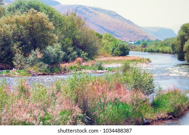 Mountain river Arpa in Armenia. Landscape, view of the mountains, the river and green bushes, trees and grass.