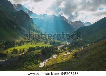 Mountain river Baksan ravine