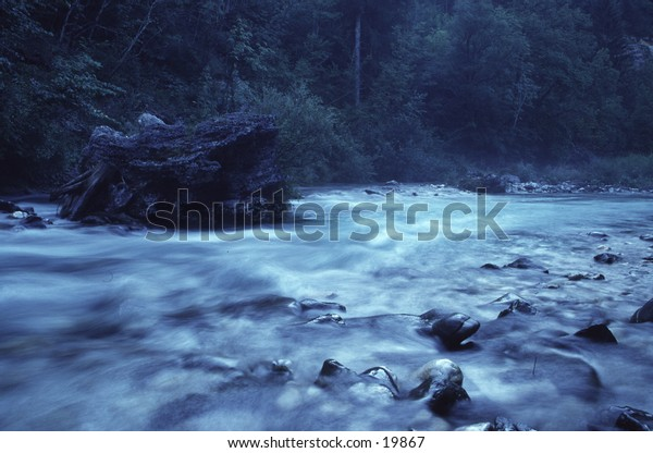 Mountain River in Early Morning Light