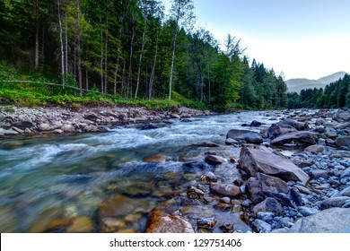 Mountain river in the Allg�¤u Mountain river in the Allg�¤u, in the Evening, as long exposure