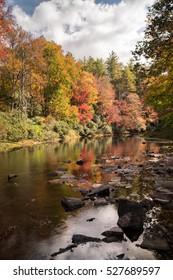 mountain river and fall foliage in the Appalachians of North Carolina