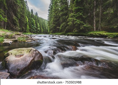 Mountain river flowing in a deep green forrest. Long exposere, water flow in motion. Creek in deep Alaska like forrest.