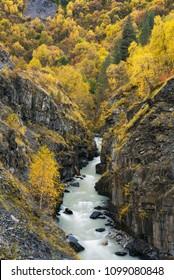 Mountain river in a gorge. Autumn landscape. Community Ushguli. Inguri River. Caucasus, Georgia, Zemo Svaneti