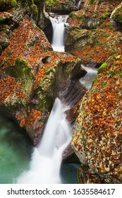 Mountain river gorges and waterfall in autumn colors - Sunik water grove, river Lepenca, Bovec, Slovenia, water background, turquoise, river, stream, autumn leaf, Soca valley, Triglav national park