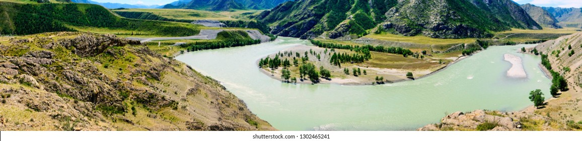 The mountain river Katun in the Altai. Panorama.